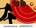 flamenco accessories pattern ... | Shutterstock .eps vector #308930513
