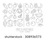 set of flat fruits and...