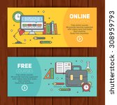 school banners templates with... | Shutterstock .eps vector #308959793