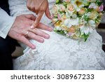bride and groom holding bridal... | Shutterstock . vector #308967233