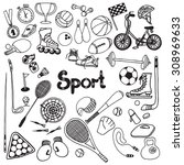 doodle sport equipment set with ... | Shutterstock .eps vector #308969633