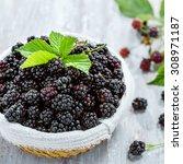 bowl of fresh blackberries  top ... | Shutterstock . vector #308971187