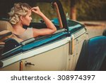 beautiful lady passenger in a ... | Shutterstock . vector #308974397
