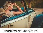 beautiful lady passenger in a ... | Shutterstock . vector #308974397