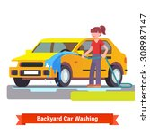 woman washing her family car... | Shutterstock .eps vector #308987147