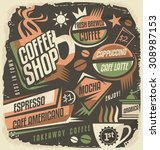 retro chalk board menu design...   Shutterstock .eps vector #308987153