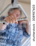 old woman holding the triangle... | Shutterstock . vector #308987603