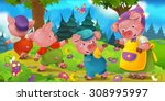 cartoon scene with mother pig... | Shutterstock . vector #308995997