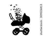 prams with butterflies. vector   Shutterstock .eps vector #309026813