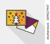 christmas card flat icon with... | Shutterstock .eps vector #309027947