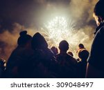 crowd watching fireworks and... | Shutterstock . vector #309048497