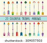 colorful tribal arrows vector... | Shutterstock .eps vector #309057503