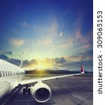 airplane taking off from the... | Shutterstock . vector #309065153