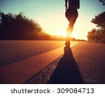young fitness woman running on... | Shutterstock . vector #309084713