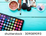 Colorful Cosmetics On Blue...
