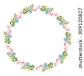 vector floral concept of circle ... | Shutterstock .eps vector #309120827