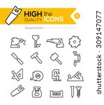 carpentry line icons series   Shutterstock .eps vector #309147077
