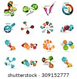 set of abstract geometric paper ... | Shutterstock .eps vector #309152777