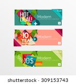 set of banners with stickers ... | Shutterstock .eps vector #309153743