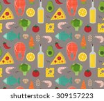 seamless pattern with cooking... | Shutterstock .eps vector #309157223