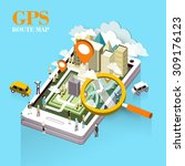 gps route map concept in flat... | Shutterstock .eps vector #309176123