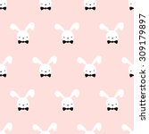 Seamless Pattern Cute Bunny Ar...