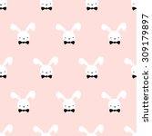 Seamless Pattern Cute Bunny Ar...