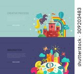 collection of two banners with... | Shutterstock .eps vector #309203483