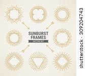 set of vintage gold sunbursts... | Shutterstock .eps vector #309204743