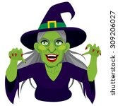 old evil scary green skin witch ... | Shutterstock .eps vector #309206027