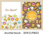 vector seamless food background.... | Shutterstock .eps vector #309219803