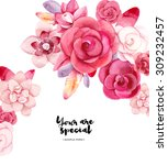 watercolor flowers card. bright ... | Shutterstock . vector #309232457
