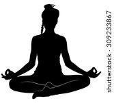 yoga girl sitting in ardha... | Shutterstock .eps vector #309233867