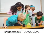 students using science beakers... | Shutterstock . vector #309239693