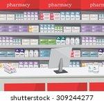 modern interior pharmacy and... | Shutterstock .eps vector #309244277