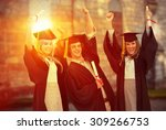 three students in graduate robe ... | Shutterstock . vector #309266753