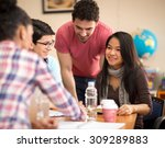 asian student socialize with... | Shutterstock . vector #309289883