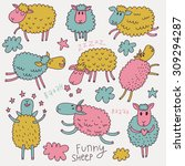 lovely cartoon sheep in vector. ... | Shutterstock .eps vector #309294287