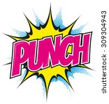 cartoon punch in pop art style | Shutterstock .eps vector #309304943