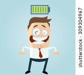 funny businessman with charged... | Shutterstock .eps vector #309304967