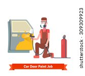 car door paint job. specialist...   Shutterstock .eps vector #309309923