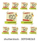 anniversary sign collection and ... | Shutterstock .eps vector #309348263