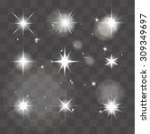 vector set of shining stars ... | Shutterstock .eps vector #309349697