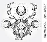 beautiful scull tattoo art.... | Shutterstock .eps vector #309352187