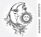 hand drawn crescent moon with... | Shutterstock .eps vector #309352373