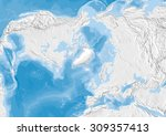 world map in polar... | Shutterstock . vector #309357413
