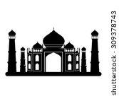 taj mahal temple black and... | Shutterstock .eps vector #309378743
