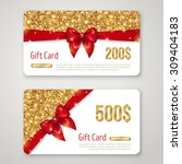 gift card with gold glitter... | Shutterstock .eps vector #309404183