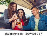 friends at party drinking... | Shutterstock . vector #309405767