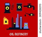 oil refinery flat industrial... | Shutterstock .eps vector #309428393